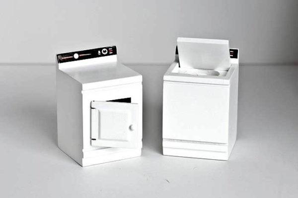 White washing machine and dryer set