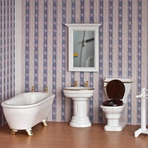 5 piece white bathroom set