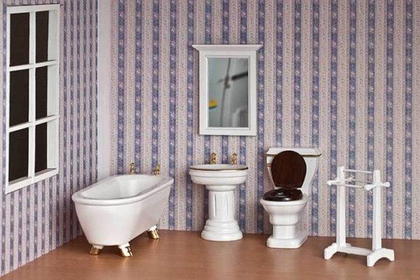 5 piece white bathroom set