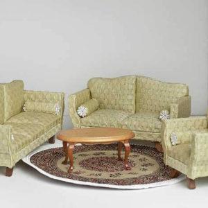 4 piece brocade pale lemon lime sofa set