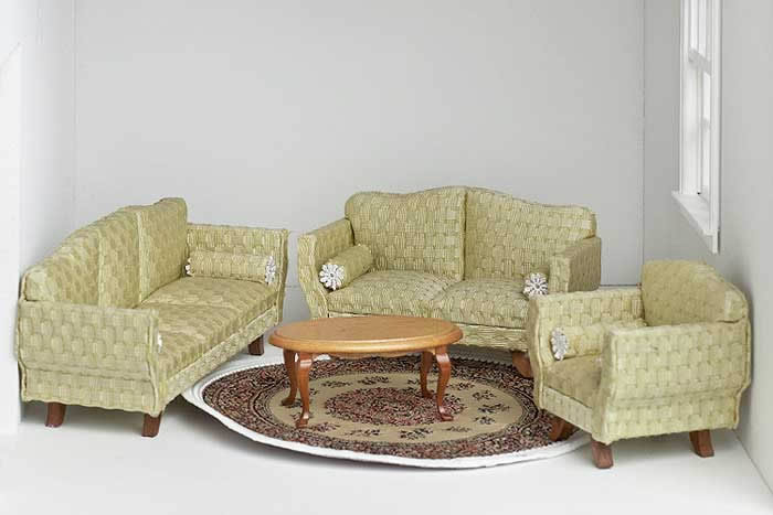 4 piece brocade pale lemon lime sofa set