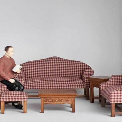 6 piece burgundy checkered sofa set