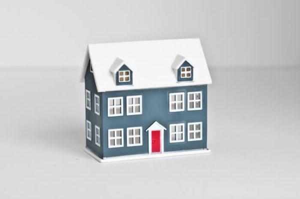Miniature blue 2 storey house