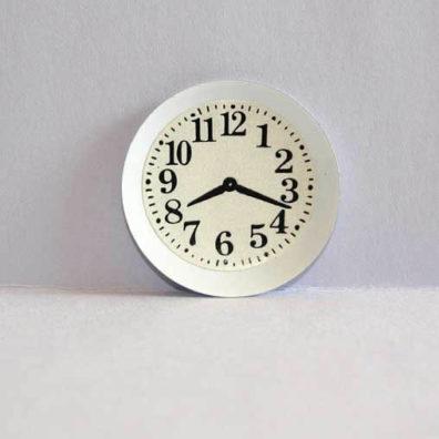 Clock white metal