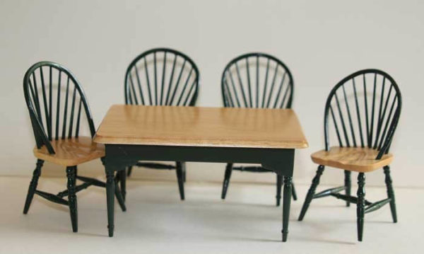 Green kitchen table with 4 chairs