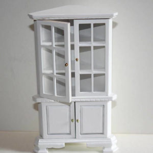White timber tall corner cupboard