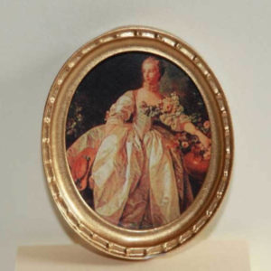 Gold small oval picture of lady