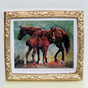 Gold framed picture of horses