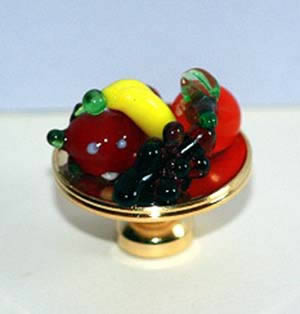 Brass dish with glass fruit