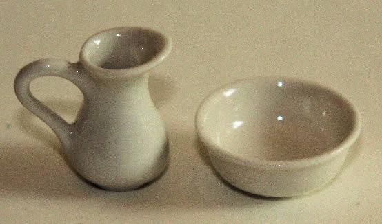 White china bowl and jug
