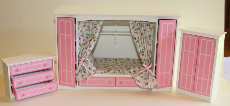 Bedroom, built in, pink and white