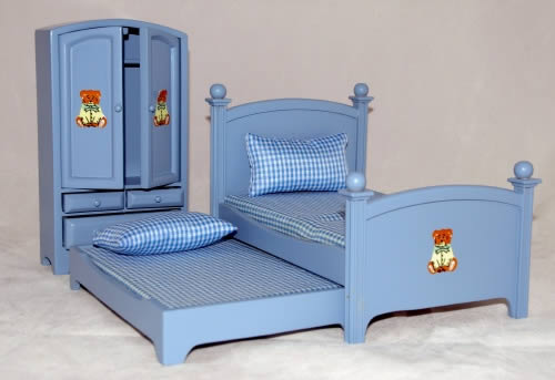 Blue trundle bed, wardrobe and bedside table