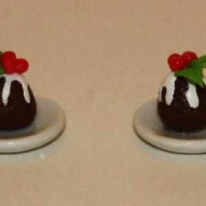 Christmas pudding on plate