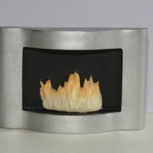 Modern Silver fireplace with flames
