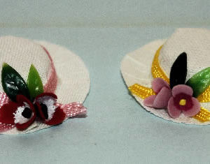 Straw hat with coloured trim