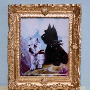 Gold framed 2 dogs Terrier