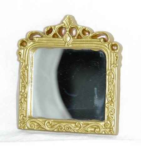 Mirror large rectangle, gold detail frame
