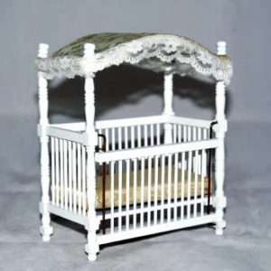 Canopy cot white frame, ivory mattress