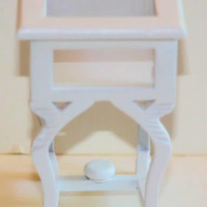 White glass top display table