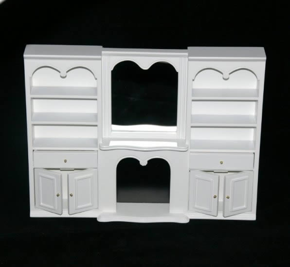 White wall cabinet with mirror and fireplace