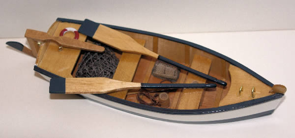 Row boat with oars