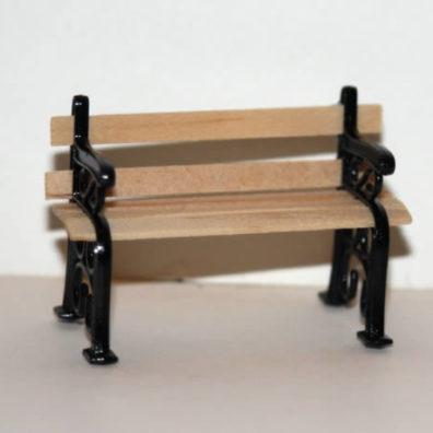 Park bench, timber and black metal