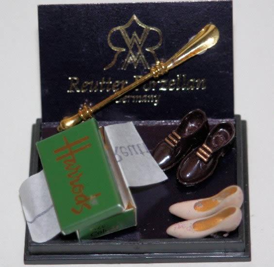 Harrods shoe box and porcelain shoes