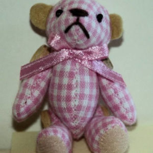 Pink/white gingham jointed teddy