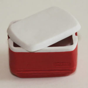 Red esky with lifting lid