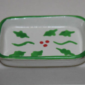 Casserole dish green and white