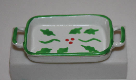 Casserole dish green and white