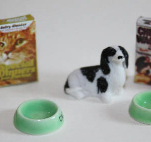 Dog or cat with bowls and food