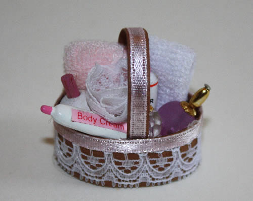 Bathroom basket with lotions