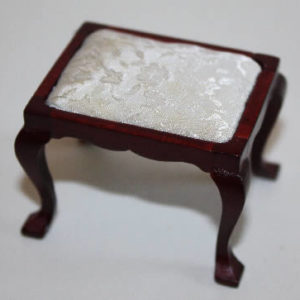 Mahogany stool with cream cover