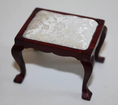 Mahogany stool with cream cover