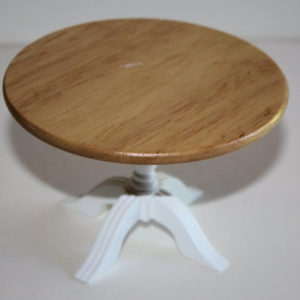 Table round pine top with white base
