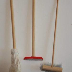 Brooms and mop set