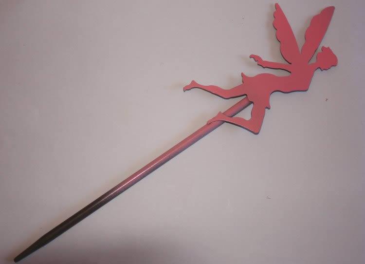 Fairy garden stake, pink