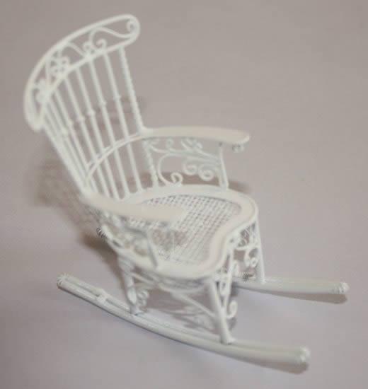 White wire rocking chair