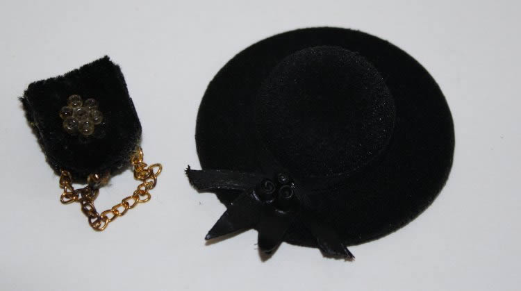Black suede hat and bag