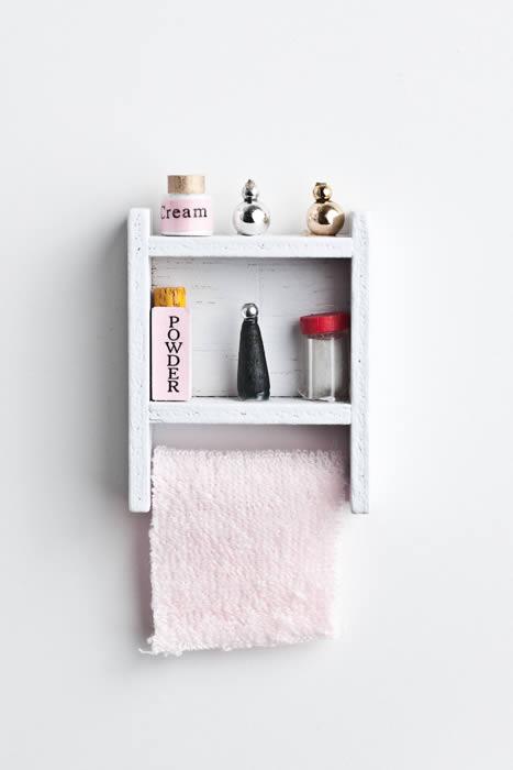 Stocked bathroom shelf