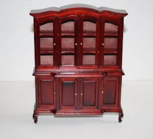 Mahogany wall cabinet and shelves