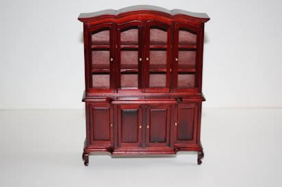Mahogany wall cabinet and shelves