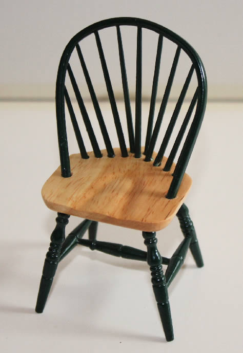 Green chair with pine seat