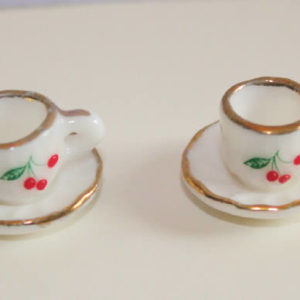 White china cups and saucers