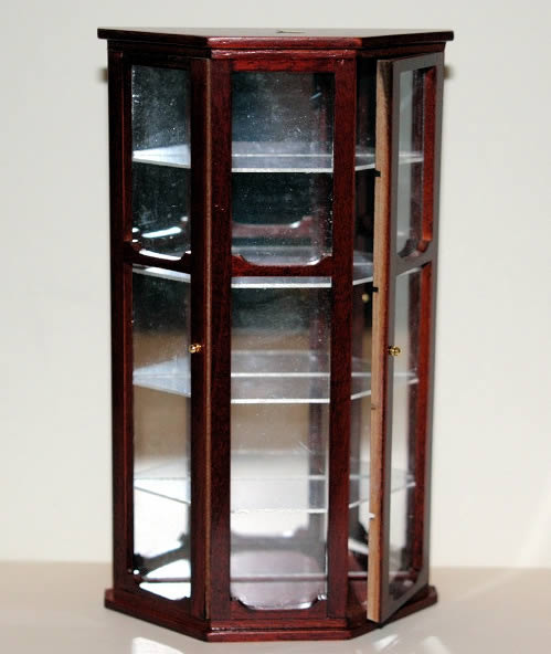 Mahogany glass door display cabinet
