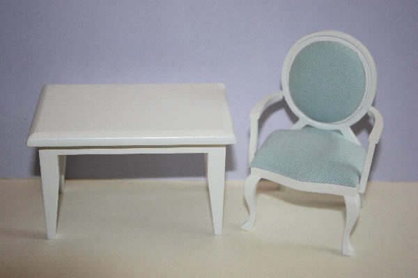 White table with blue chair