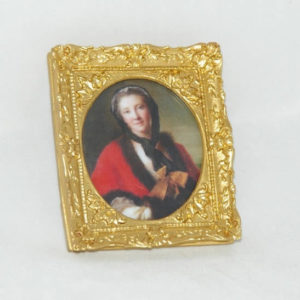 Gold square picture frame, oval insert