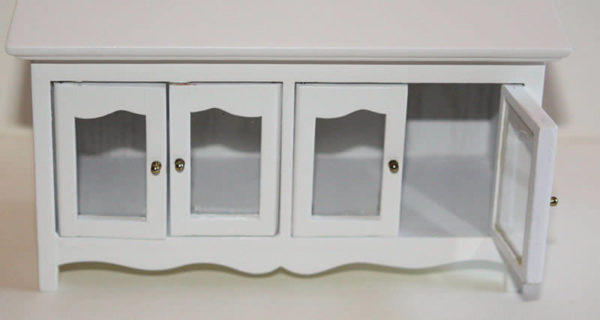 Buffet white timber with glass doors