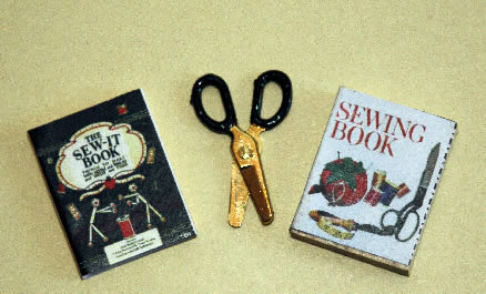 Sewing books and scissors
